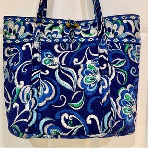 Vera Bradley Large Tote Mediterranean Blue Retired
